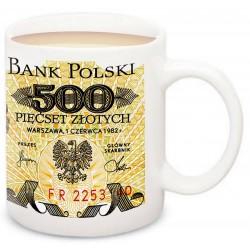 Kubek z banknotem 500 zł Tadeusz Kościuszko PRL 1982 POLSKA