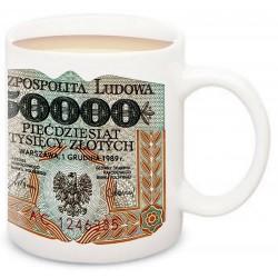 Kubek z banknotem 50000 zł Stanisław Staszic PRL 1989 r