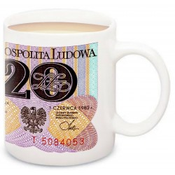 Kubek z banknotem 20 zł głęboki PRL. W obiegu w latach 1950 – 1977.
